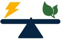 Eine Waage mit Klima und Energie Icons