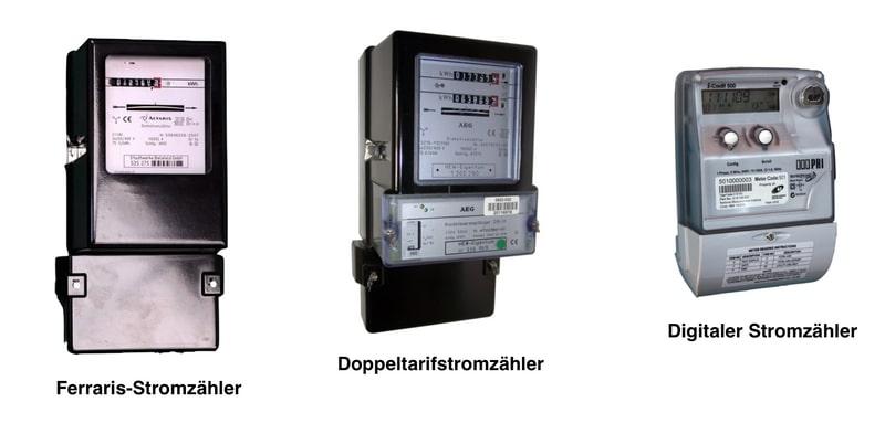 Stromzähler kaufen - verschiedene Arten von Stromzählern nebeneinander. Links ein Ferraris-Zähler, in der Mitte ein Doppeltarifstromzähler, rechts ein digitaler Stromzähler