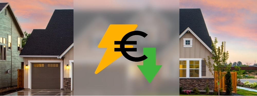 Strom und Euro Symbole mit grünem Pfeil und einem Haus im Hintergrund, die Tipps zum Strom sparen darstellen