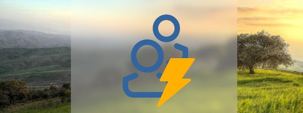 Zwei Blaue Icons von Personen und Strom Icon mit Natur im Hintergrund