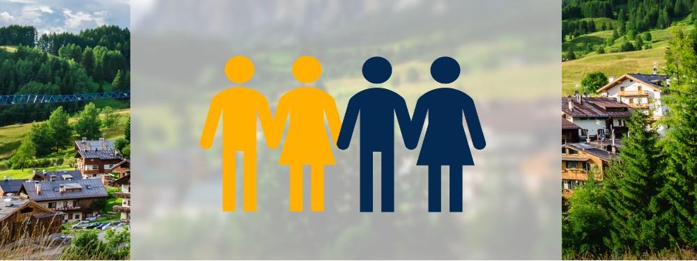 Icon einer Strom Cloud Community mit Gemeinde im Hintergrund