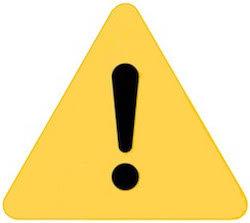 gelbes Warnschild