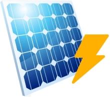 Solarpanel mit Energie Icon