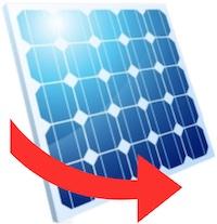Solarmodul mit rotem Pfeil