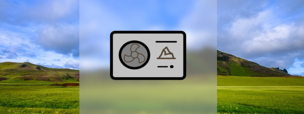 Ein Icon einer Erdwärmepumpe vor einem bergigen Hintergrund