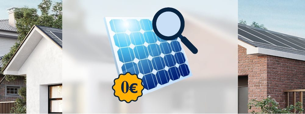 Eine kostenlose Solaranlage mit Haus im Hintergrund