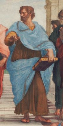 "Aristotle, as depicted by Raphael in ""The School of Athens"" fresco"