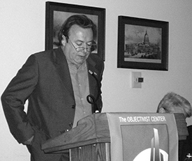 Hitchens, speaking at an Atlas Society event.