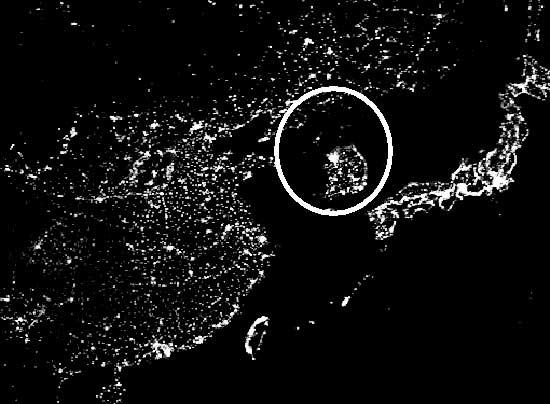 North and South Korea, circled