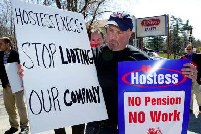 "A ""prophetic"" sign: ""No Pension. No Work."""