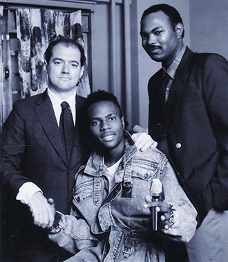 Old school: Steve Mariotti, Vincent Wilkins, with music producer Tony Stone. 1987.