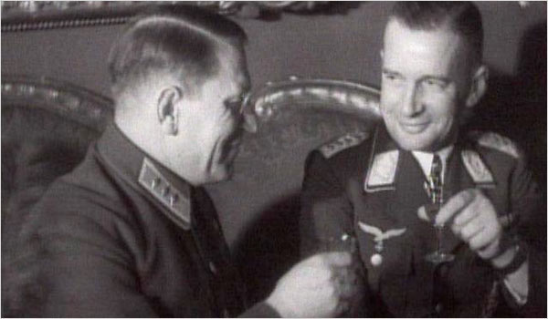 Soviet and Nazi officers, in a scene from the film