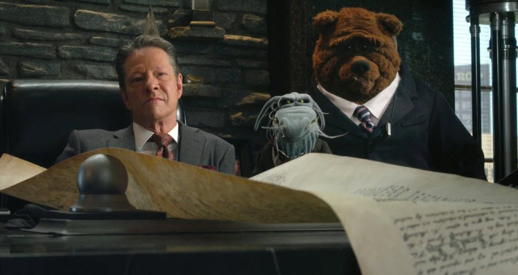 "Chris Cooper as Tex Richman in ""The Muppets."""