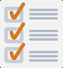 Checklist with orange checkmarks