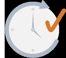 clock with orange-colored check mark
