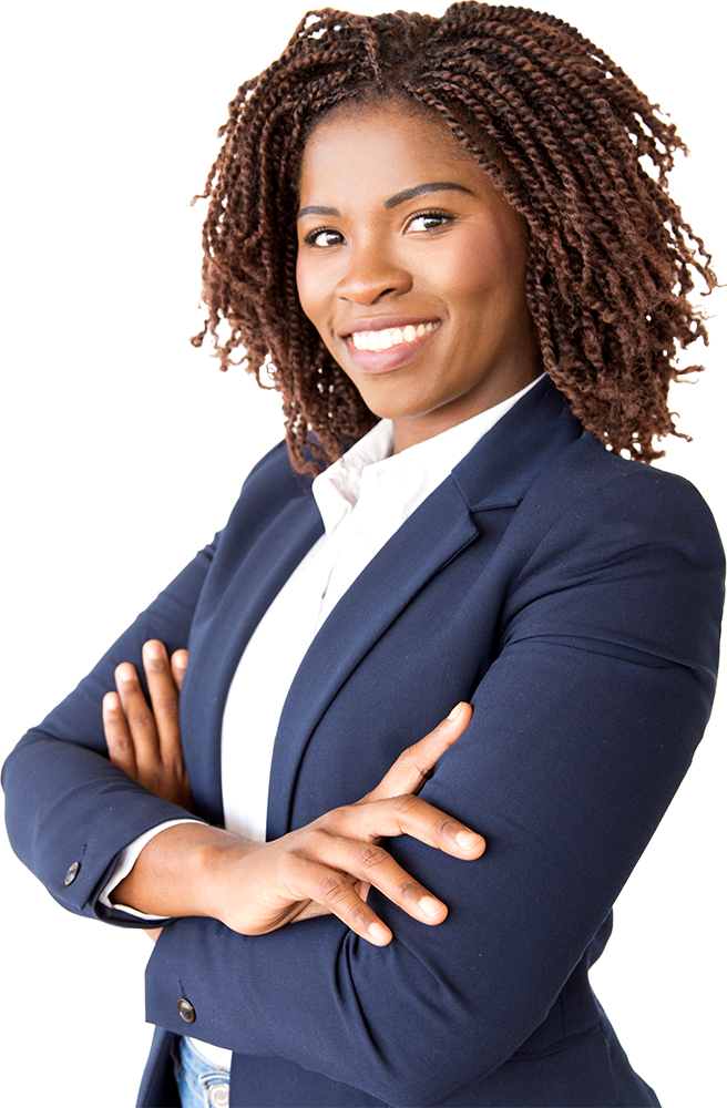 African American businesswoman in navy blue suit smiling