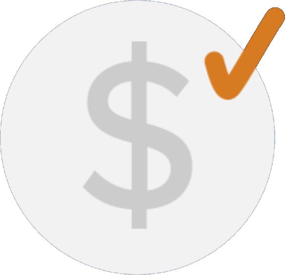 money symbol with orange checkmark