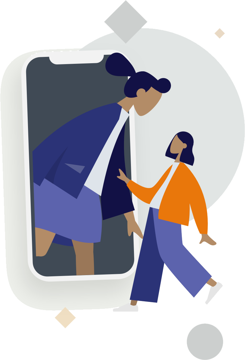 Animated figure in phone greets animated woman in yellow jacket