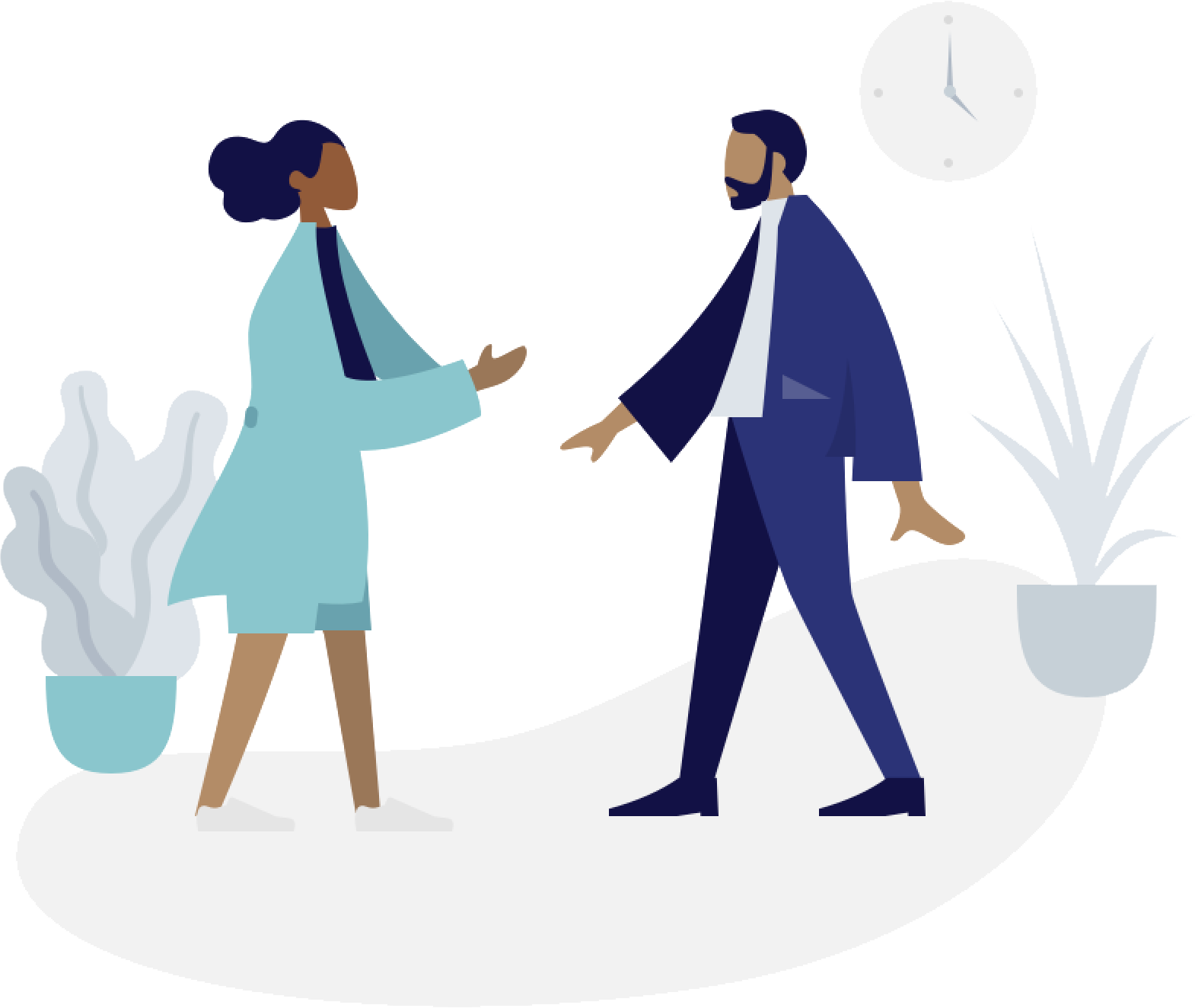 Two animated characters in business clothes greeting
