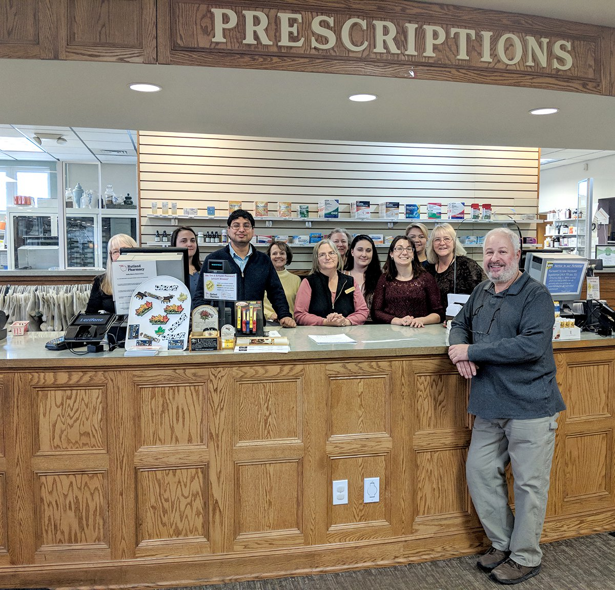 Smilin Steve Hochberg with Pharmacy Staff