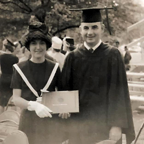 Founder John White and Pat White at graduation at Ole Miss Pharmacy School, 1961