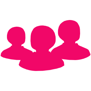 Team training icon: three pink busts of people.