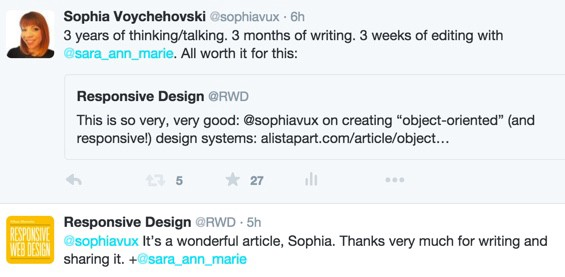 """Twitter screenshot: Responsive Design @RWD says, """"It's a wonderful article, Sophia. Thanks very much for writing and sharing it."""""""
