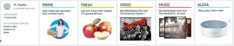 Modules on Amazon homepage