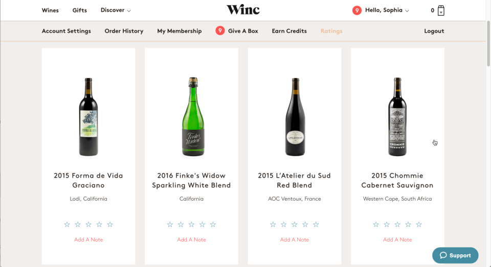 The Ratings tab of Winc.com. These wine modules include the ability to star a wine and add a note, but don't show the user when the wine was received.