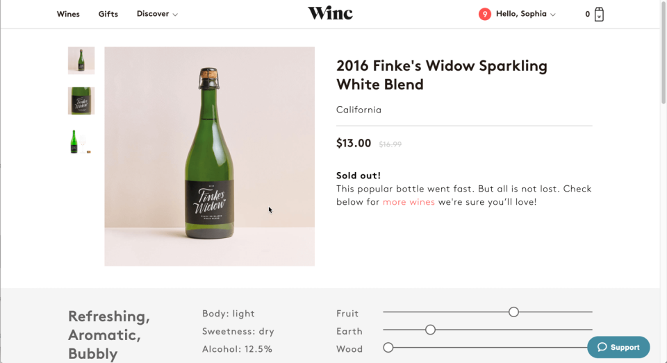 The Winc's wine detail page displays descriptive information about the wine, but nothing about the user's past interactions with the wine.