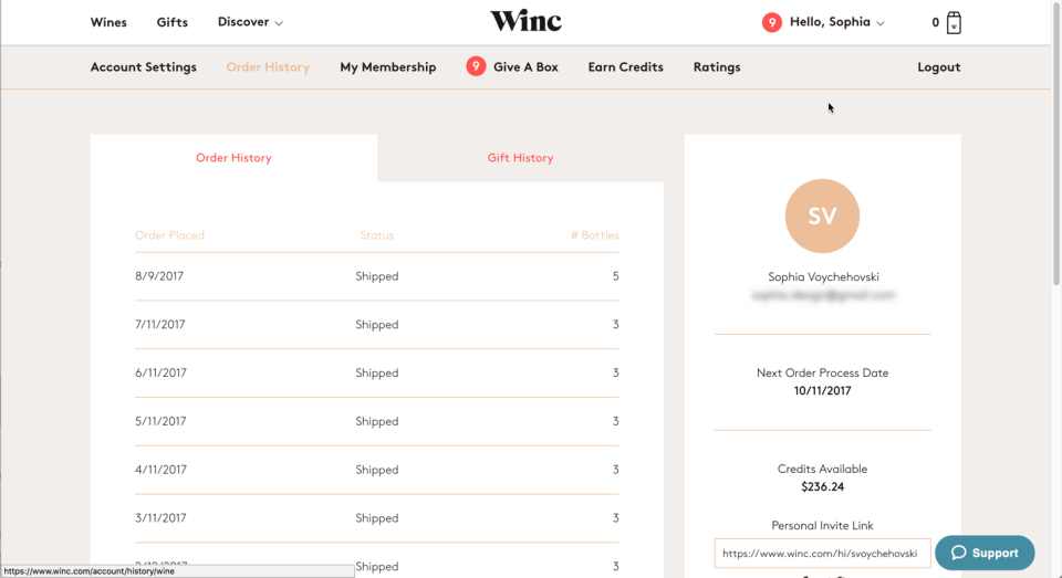 Winc's Order History is not much more than a table of dates.
