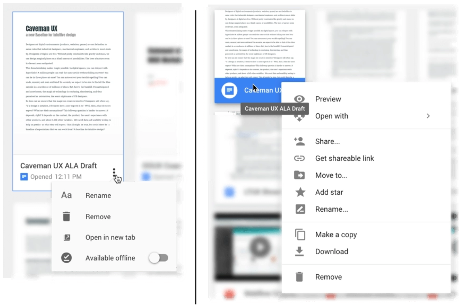 Different menu options in Google Docs and Google Drive.