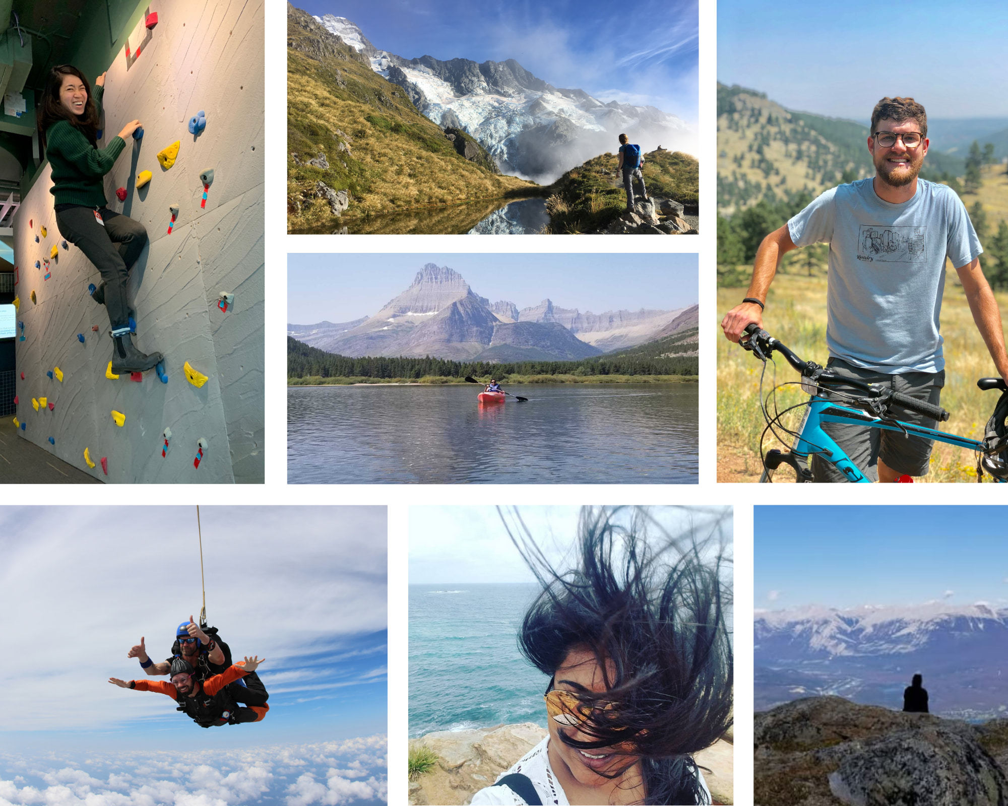 A photo collage that shows off Krit Team members going on adventures.