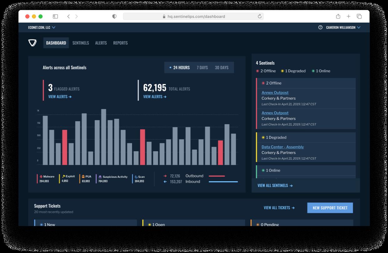 A screenshot of the Sentinel dashboard using a darkmode theme.