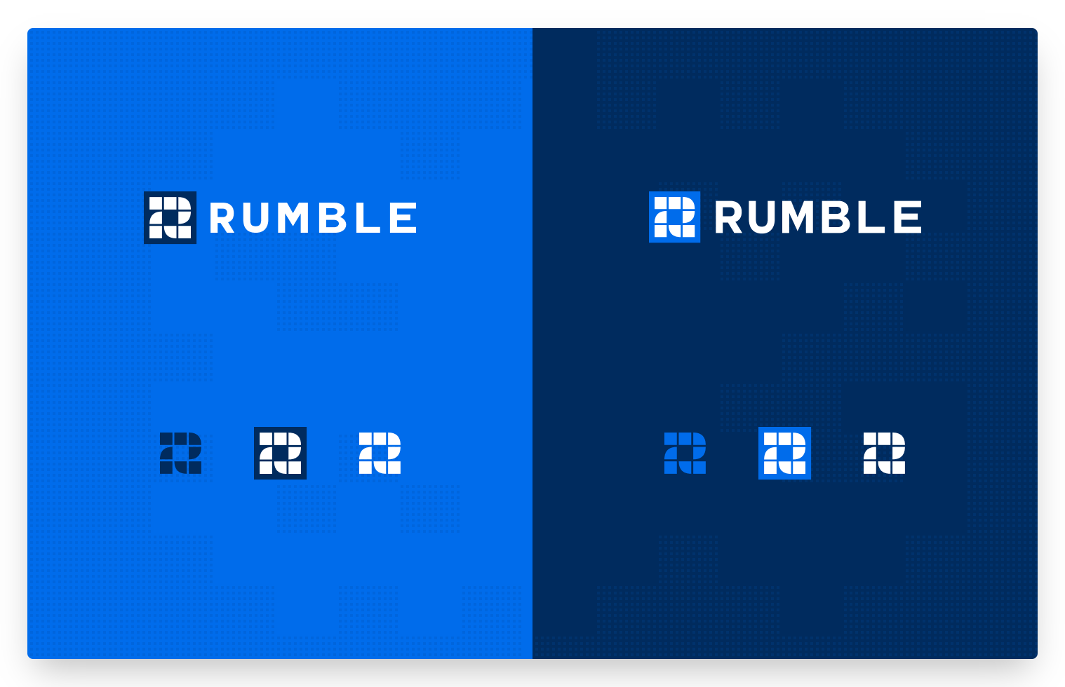 A slide that shows logos on a light blue and dark blue background for the company Rumble.