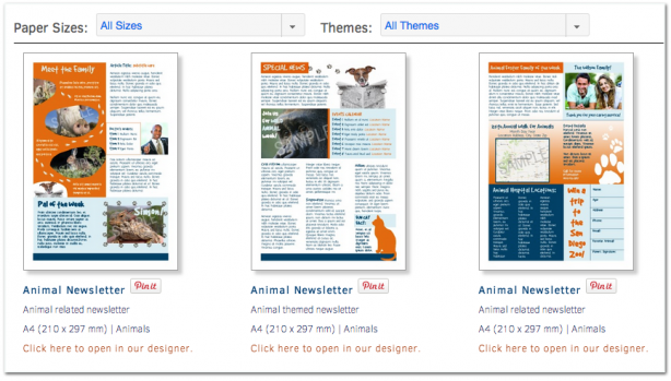 PageProdigy newsletter templates