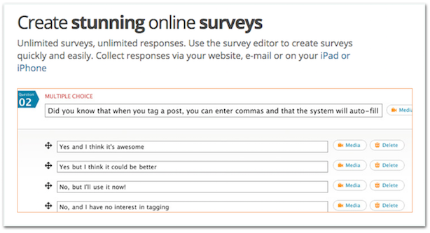 Polldaddy online survey tool