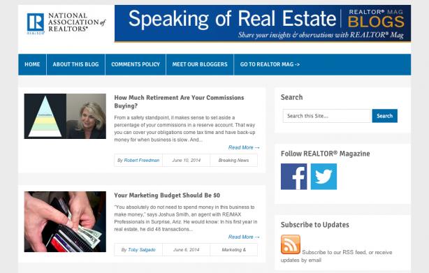 National Association of Realtors real estate blog