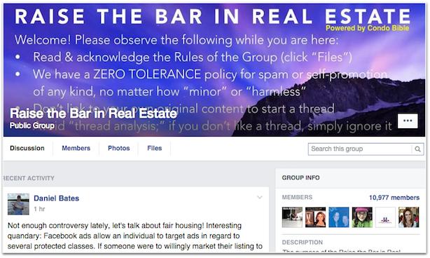 Raise the Bar real estate social media Facebook group