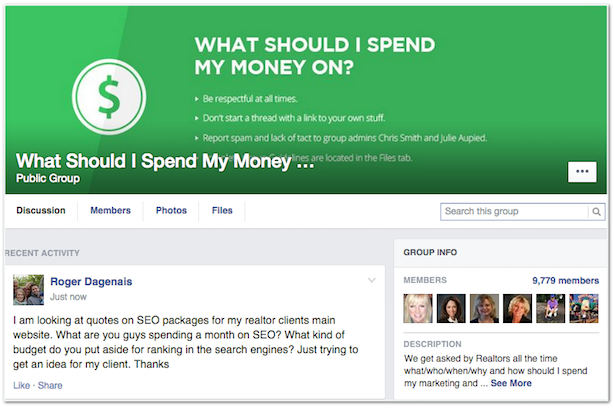 What Should I Spend My Money On Facebook real estate group