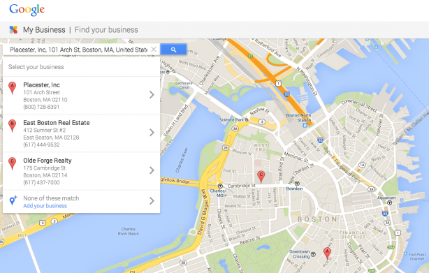 Google My Business search bar