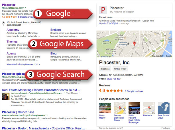Google My Business search results page