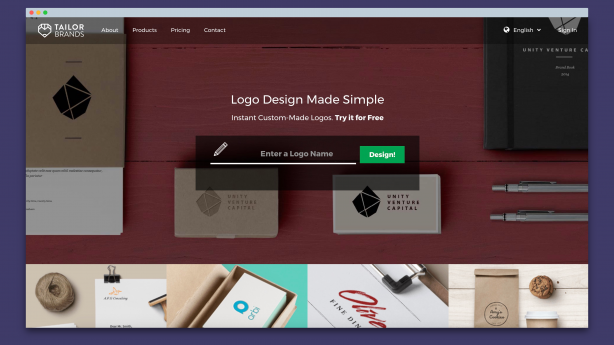 Screenshot of Tailor Brand Homepage