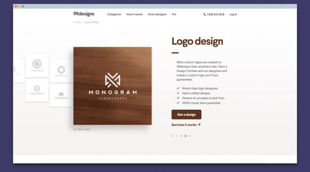 Screenshot of 99Designs Logo Design Page
