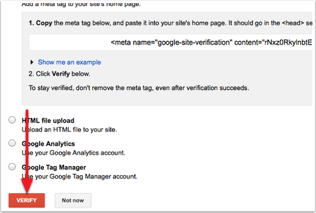 Verify in Google Webmaster Tools