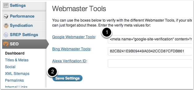 Google Webmaster Meta Value into WP