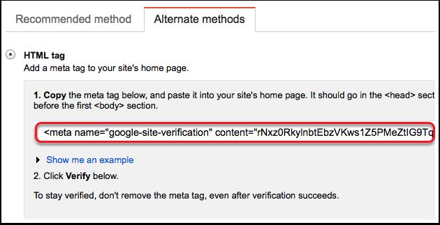 Copy Google Webmaster Meta tag