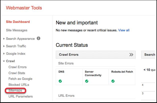 Sitemap option in Google Webmaster Tools