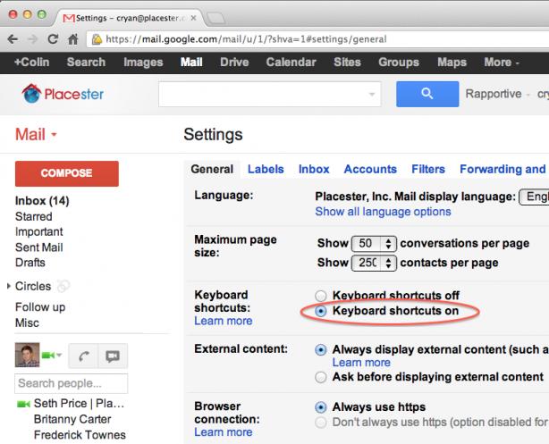 enabling keyboard shortcuts in gmail