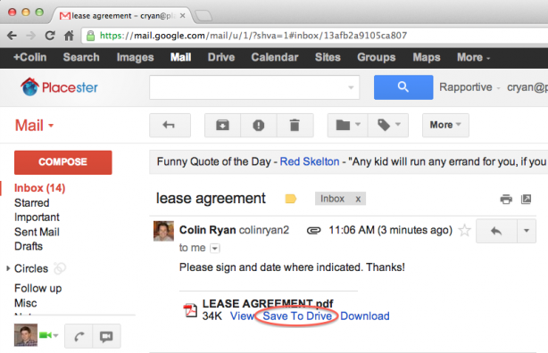 save gmail attachments directly to google drive